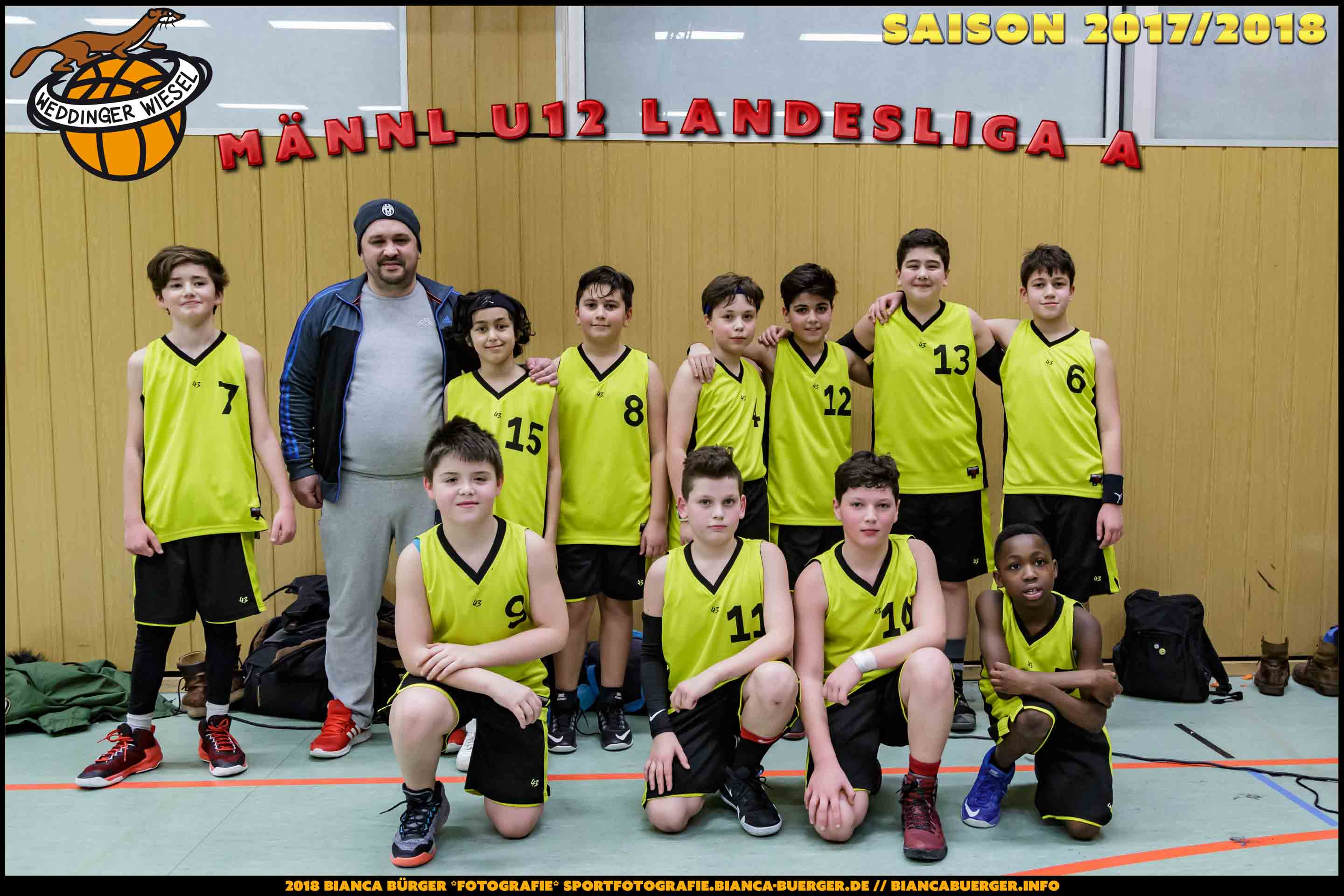 Teamfoto mU12 Weddinger Wiesel Saison 2017-2018 (Basketball)
